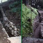 Il tratto che si diparte dall'uscita della fortificazione in roccia scendendo a valle, ripristinato