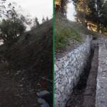 Il tratto che si diparte dall'uscita della fortificazione in roccia risale verso la vetta prima e dopo i lavori