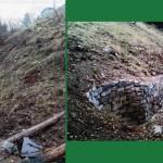 La seconda parte del tratto che dall'uscita della fortificazione in roccia risale verso la vetta prima e dopo i lavori