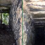 L'entrata del ricovero coperto sotto la vetta; questo ricovero, trovato durante i lavori, non era stato rinvenuto precedentemente nel 1989