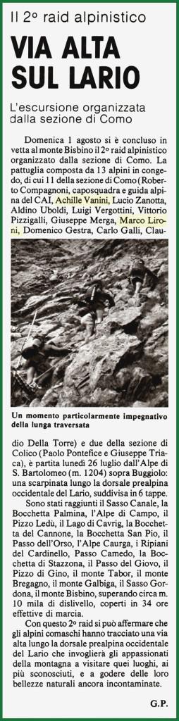"""Articolo  pubblicato sul mensile A.N.A. """"L'Alpino"""" n° 10 del novembre 1982"""