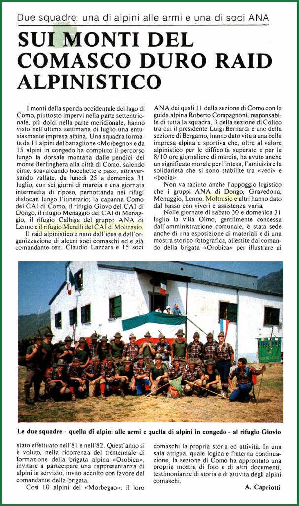 """Articolo pubblicato sul mensile A.N.A. """"L'Alpino"""" N° 10 del novembre 1983"""